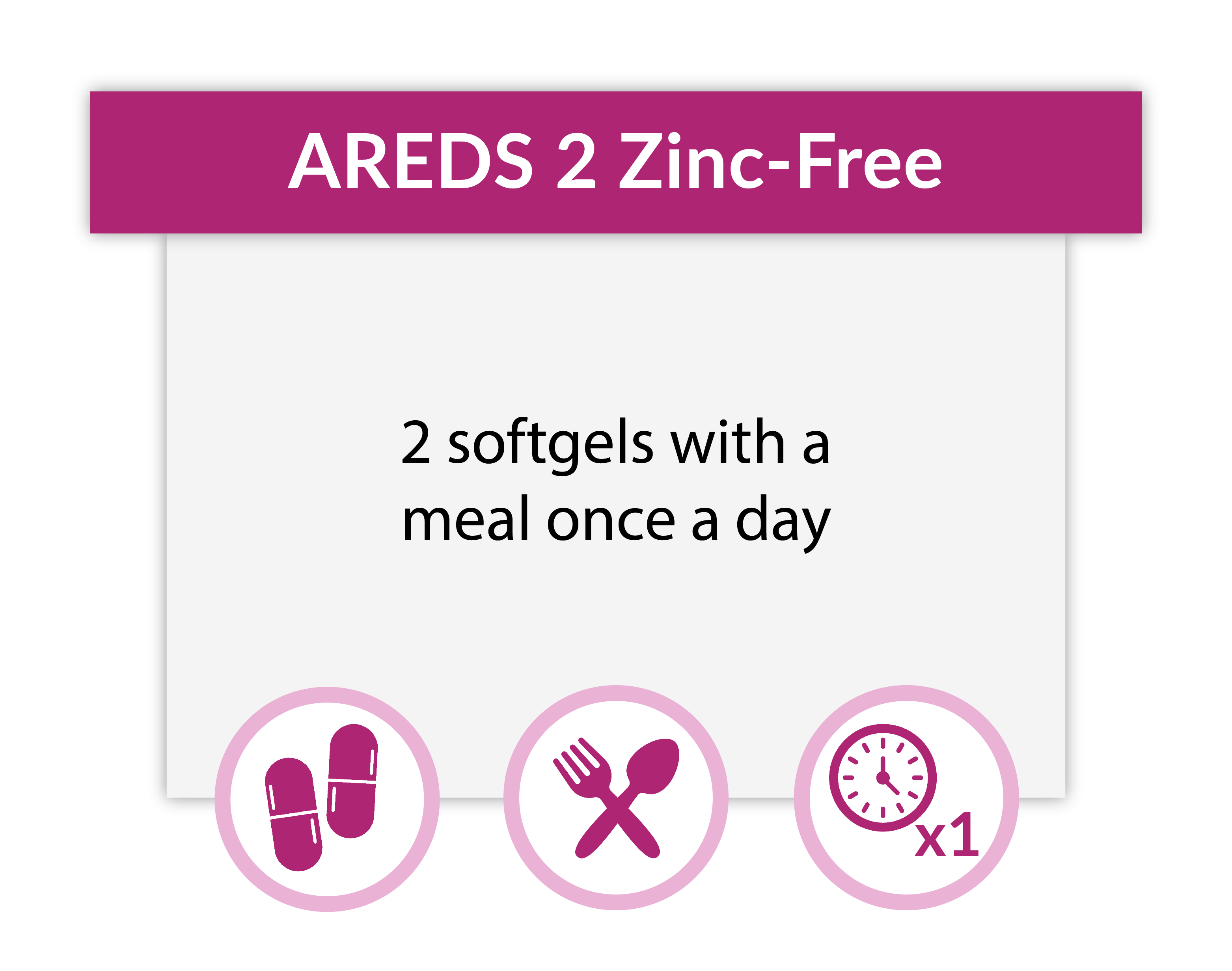 Take 2 AREDS 2 Plus Zinc-Free softgels with a meal once a day.