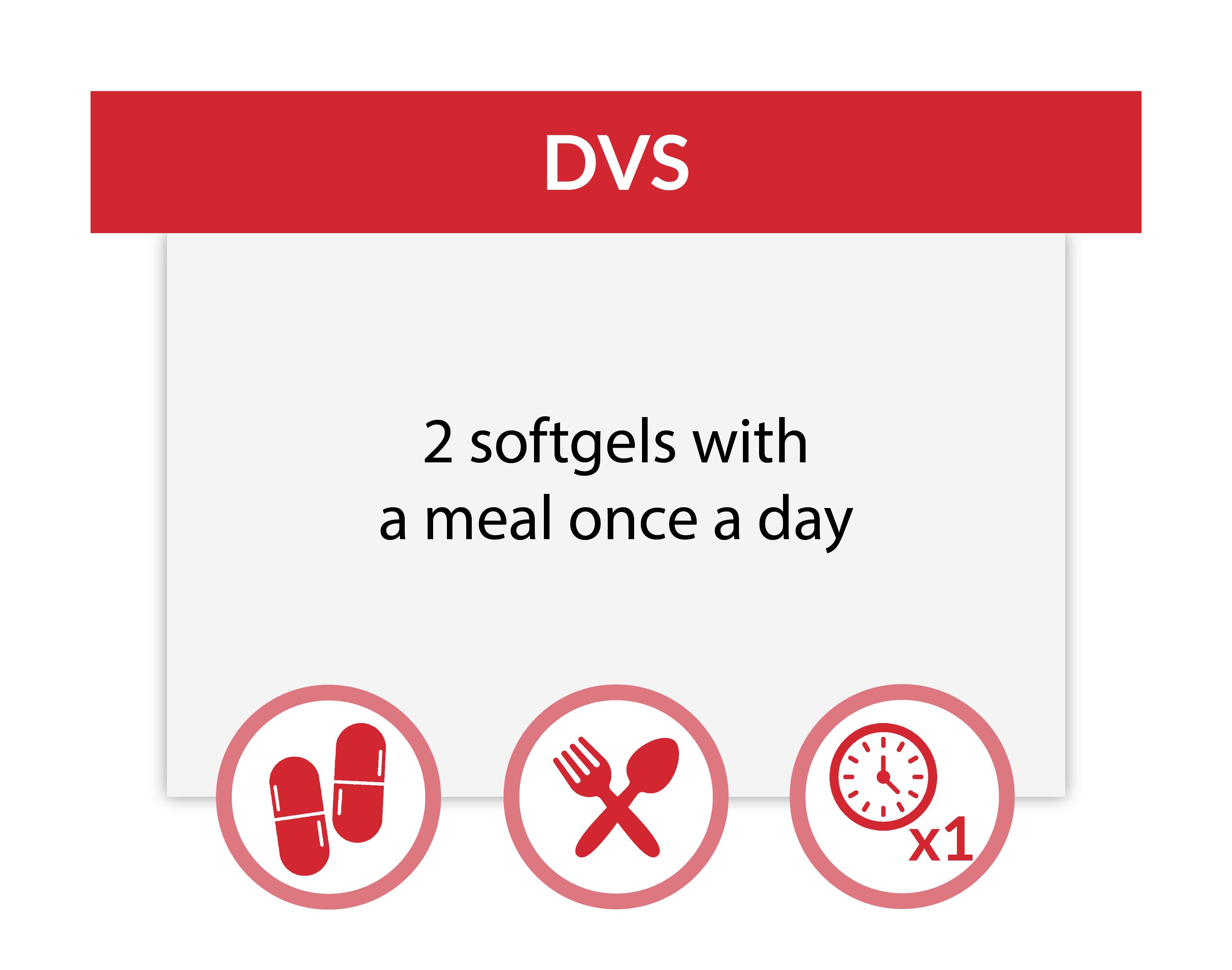 Take 2 DVS softgels with a meal once a day.
