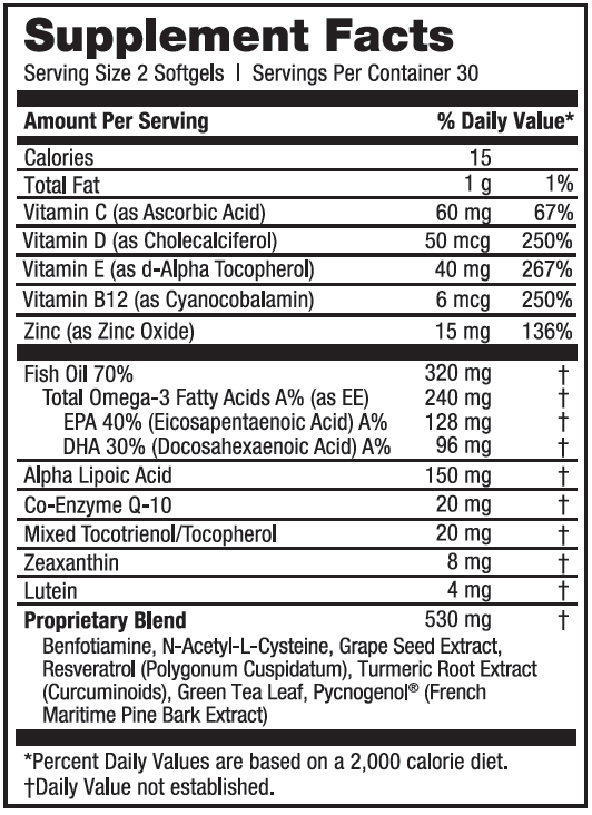Two softgels of EyePromise DVS contains many different nutrients.