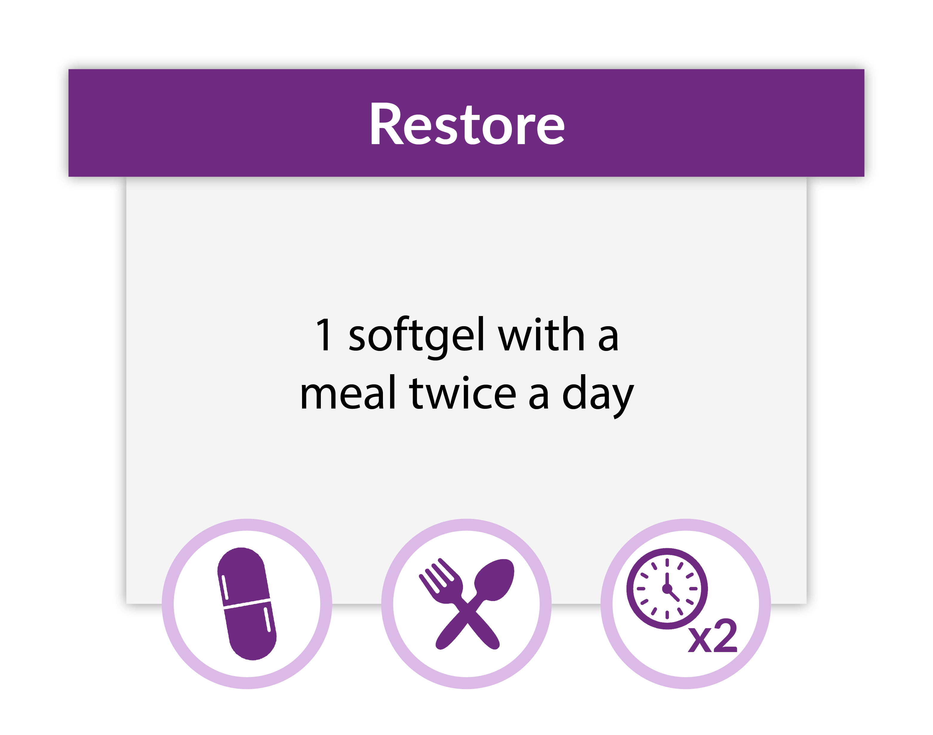 Instruct your patients to take one Restore softgel with a meal twice a day.