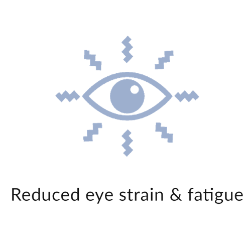 Reduced eye strain and fatigue